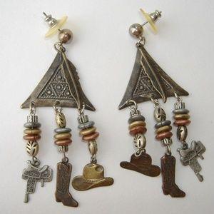 Jewelry - Cowboy Dangle Mixed Metal Earrings Hat Boots